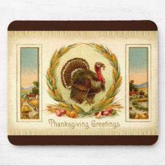 Acción de gracias Turquía Mousepad del vintage