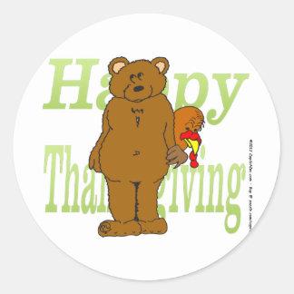 Acción de gracias Turquía que oculta detrás de oso Pegatinas Redondas