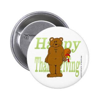 Acción de gracias Turquía que oculta detrás de oso Pins