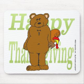 Acción de gracias Turquía que oculta detrás de oso Alfombrilla De Ratones