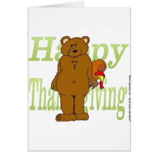 Acción de gracias Turquía que oculta detrás de oso Tarjeton