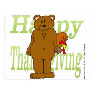 Acción de gracias Turquía que oculta detrás de oso Postales
