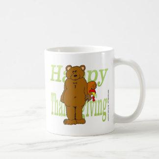 Acción de gracias Turquía que oculta detrás de oso Tazas De Café