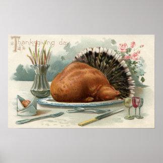 Acción de gracias Turquía vestida DayA para la cen Póster