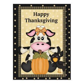 Acción de gracias vaca postal día de fiesta