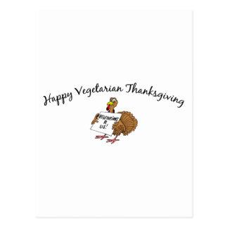 Acción de gracias vegetariana feliz postales