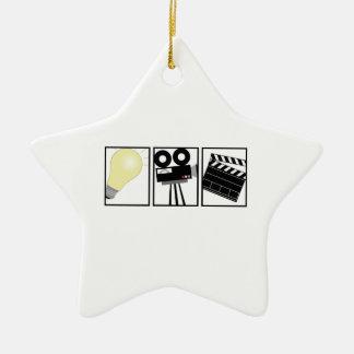 Acción de la cámara de las luces adorno navideño de cerámica en forma de estrella