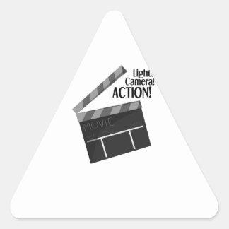 Acción de la cámara de las luces pegatina triangular