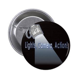 ¡Acción de la cámara de las luces! Pin Redondo 5 Cm