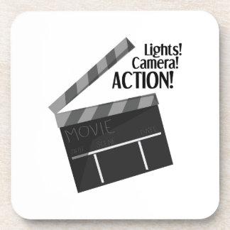 Acción de la cámara de las luces posavaso