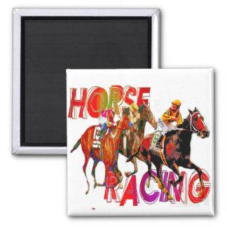 Acción de la carrera de caballos imán cuadrado