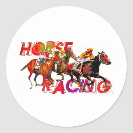 Acción de la carrera de caballos etiquetas redondas