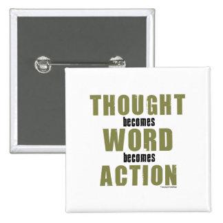 Acción de la palabra del pensamiento pin cuadrado