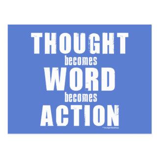 Acción de la palabra del pensamiento tarjeta postal