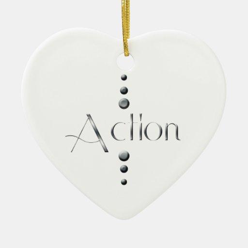 Acción de plata del bloque de 3 puntos adorno navideño de cerámica en forma de corazón