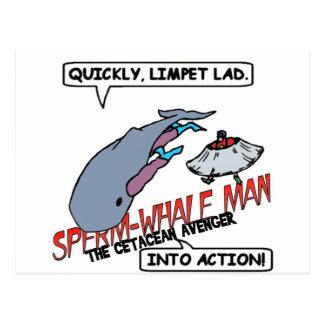 Acción del hombre de la ballena de esperma postal