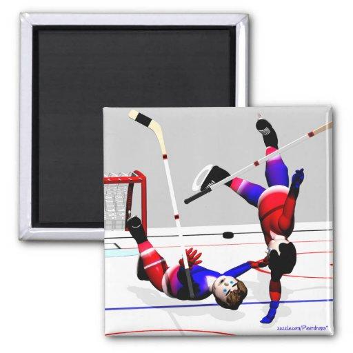 Acción del jugador de hockey imán cuadrado