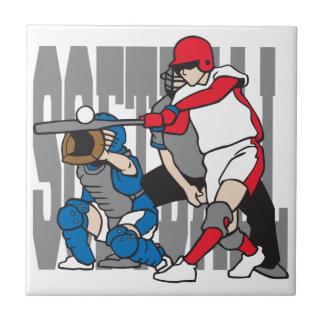 Acción del softball azulejo cuadrado pequeño