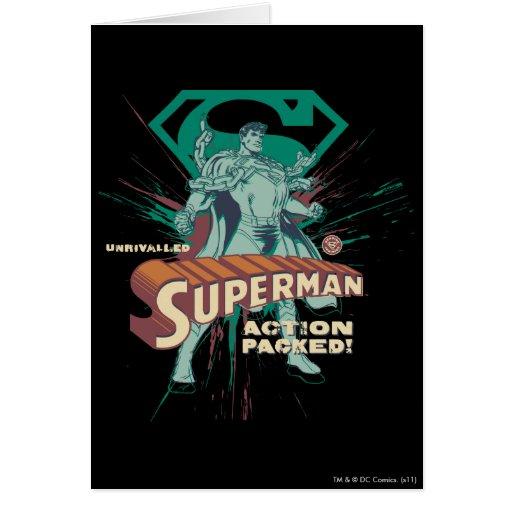 Acción del superhombre llena tarjeta de felicitación
