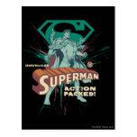 Acción del superhombre llena tarjeta postal