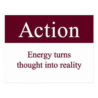 Acción - la energía da vuelta a pensamiento en postal