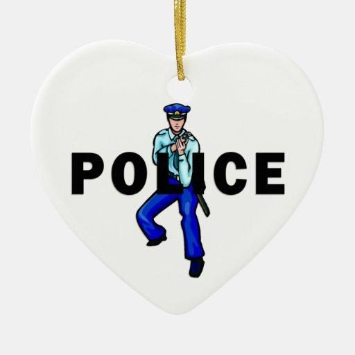 Acción policial adorno de cerámica en forma de corazón