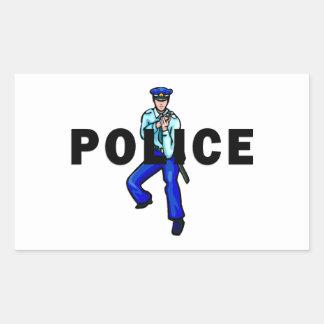 Acción policial rectangular pegatinas