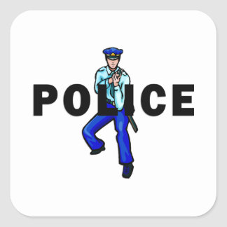 Acción policial calcomanía cuadrada