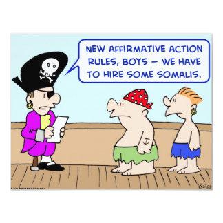 """acción positiva somalí de los piratas invitación 4.25"""" x 5.5"""""""