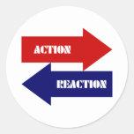 Acción-Reacción Etiqueta Redonda