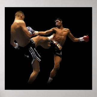 Acción tailandesa del boxeo de Muay Póster