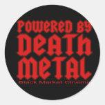 accionado por el metal de la muerte pegatinas redondas