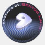 ACCIONADO POR Gentoo Linux Pegatina Redonda
