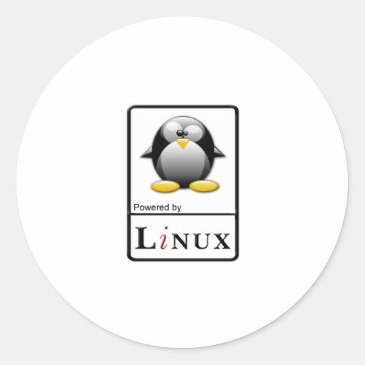 Accionado por Linux Pegatina Redonda