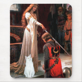 Accolade - White cat Mouse Pad