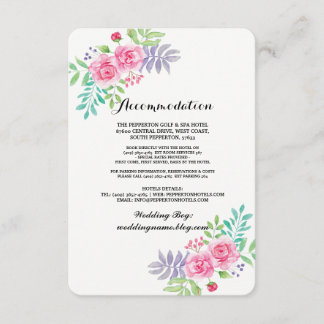 Accommodation Watercolour Wedding Cards Inserts