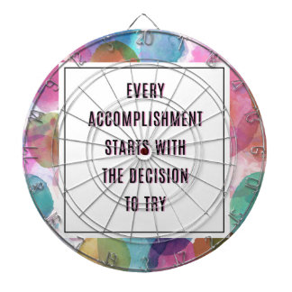 Accomplishment Inspirational Quote Dartboard With Darts