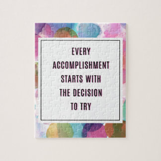 Accomplishment Inspirational Quote Jigsaw Puzzle