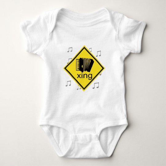 Accordian Crossing Xing Traffic Sign Baby Bodysuit