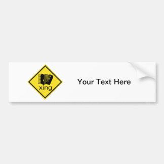 Accordian Crossing Xing Traffic Sign Car Bumper Sticker