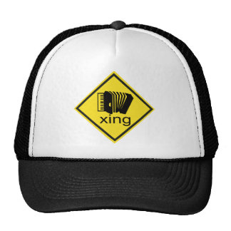 Accordian Crossing Xing Traffic Sign Trucker Hat