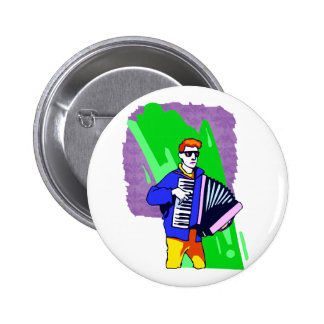 Accordian Player Blue Suit Graphic Pinback Buttons