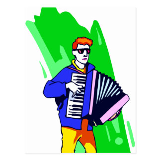Accordian Player Blue Suit Graphic Postcard