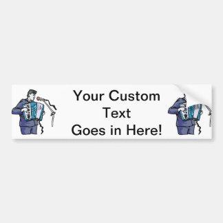 Accordian player, dark blue, singing graphic desig bumper sticker