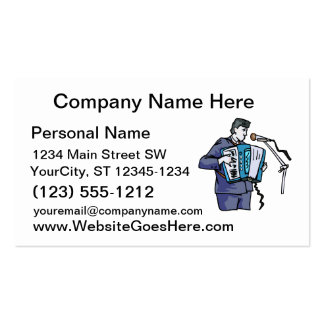Accordian player, dark blue, singing graphic desig business card