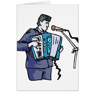 Accordian player, dark blue, singing graphic desig card