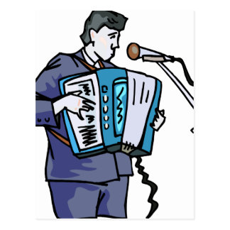 Accordian player, dark blue, singing graphic desig postcard