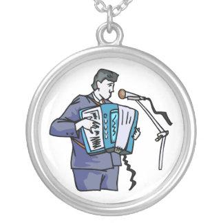 Accordian player, dark blue, singing graphic desig round pendant necklace
