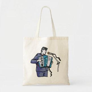 Accordian player, dark blue, singing graphic desig tote bag