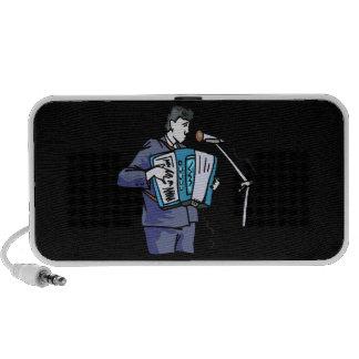 Accordian player, dark blue, singing graphic desig travel speaker